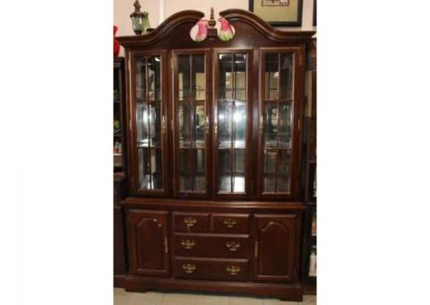 China Cabinet Medium dark finish - Rising Sun